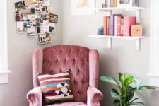 03 a pink tufted velvet wingback with a matching footrest is right what you need for a reading space