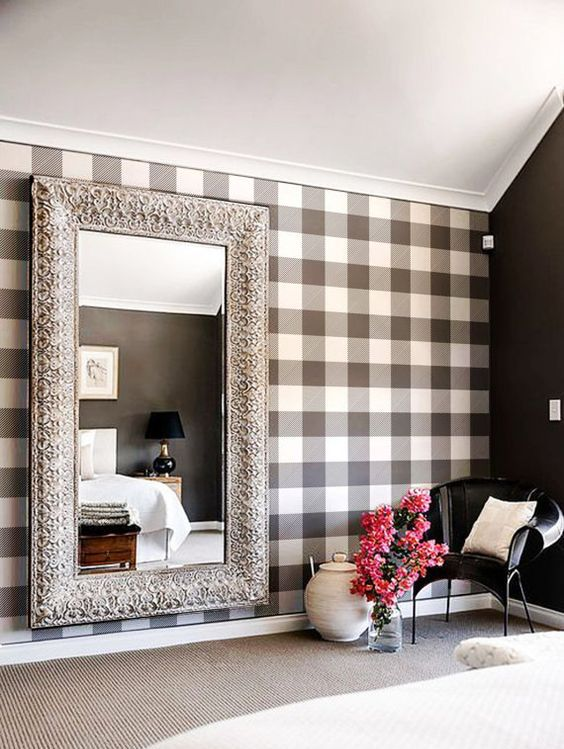 black and white buffalo check adhesive wallpaper is a great idea to make a statement