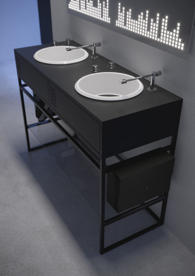 There's also a more laconic and minimal version in black and white suitable for masculine bathrooms