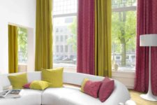 04 colorful folded draperies in neon green and pink to add color to a neutral room