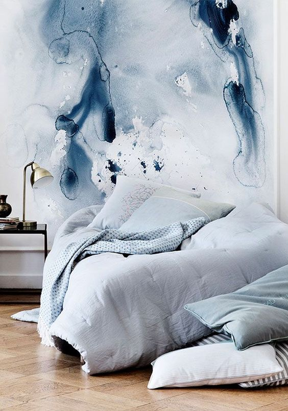 who needs a headboard when you can make such a gorgeous watercolor wall mural instead