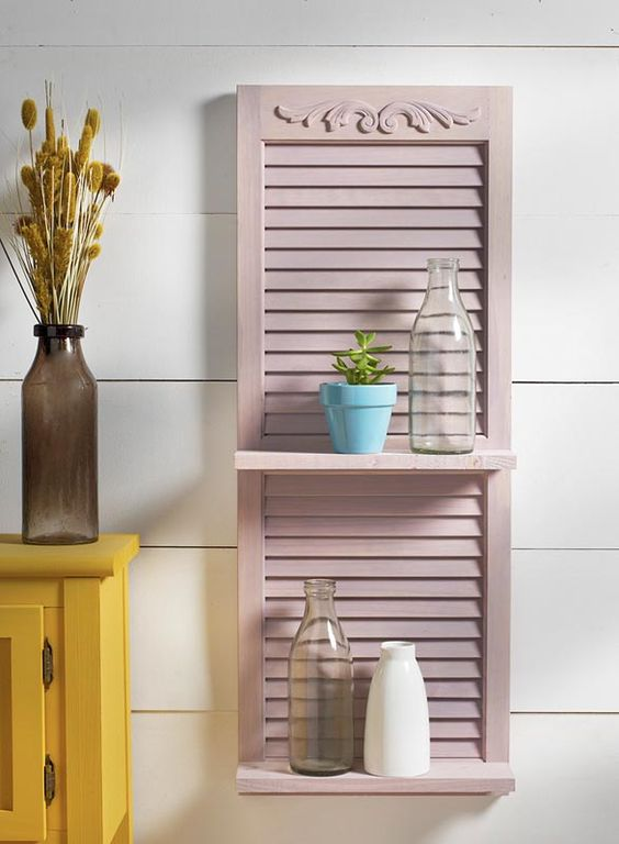 a blush painted shutter with shelves is a cute idea to add country charm to any space