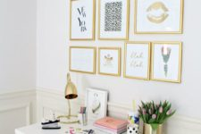 05 a girlish workspace with a gallery wall with gold frames and various girlish art