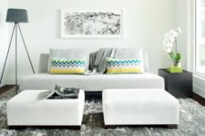 05 large ottomans in a luxurious creamy shade make the space bold and chic