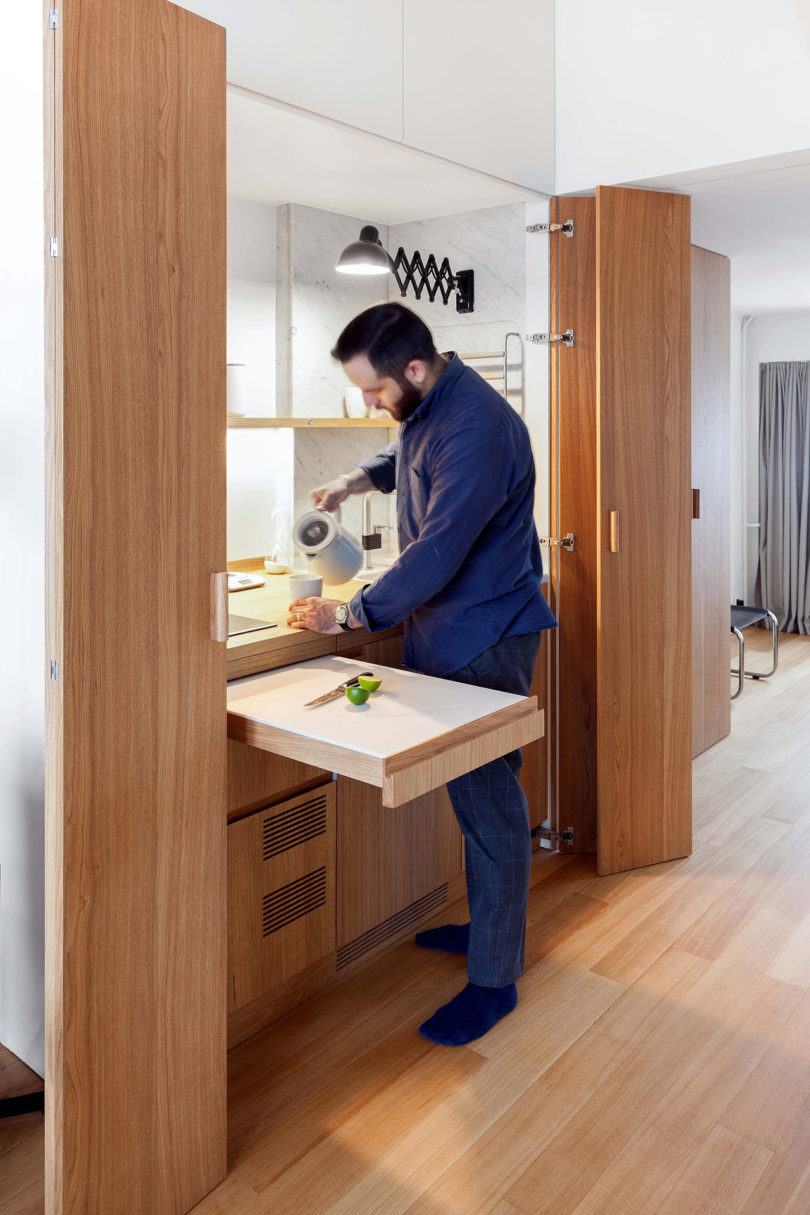 The owner is a single guy, and he doesn't need a large kitchen or too much space for cooking