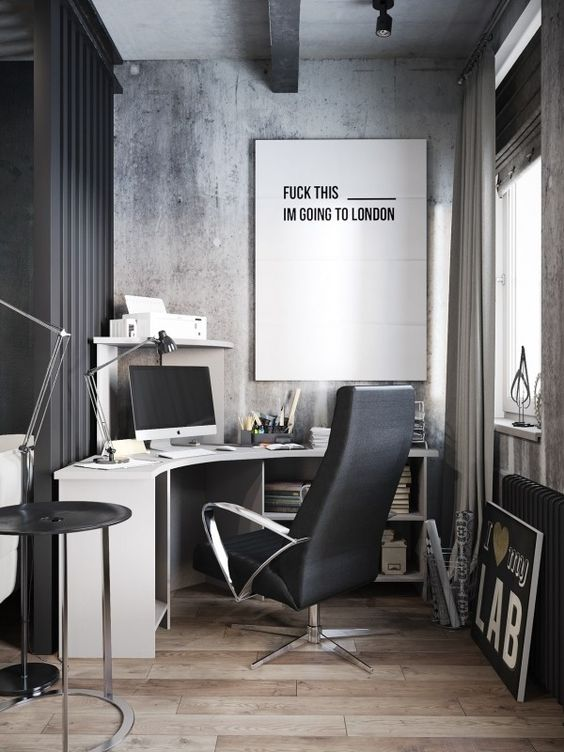 An Oversized Black And White Artwork In An Industrial Office Motivates To  Go On Holiday