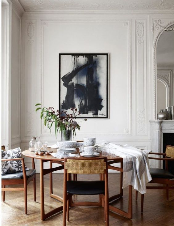 a vintage space with a mid-century modern dining set and art