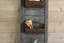 09 farmhouse storage shutter with old loaf pans for a vintage feel in your kitchen is a unique DIY project