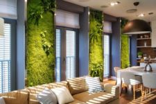 09 moss and fern walls in the open layout create a chic look and make it fresh