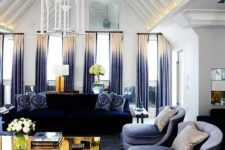 09 ombre beige to blue folded curtains add a colorful touch to the space and make the room cooler
