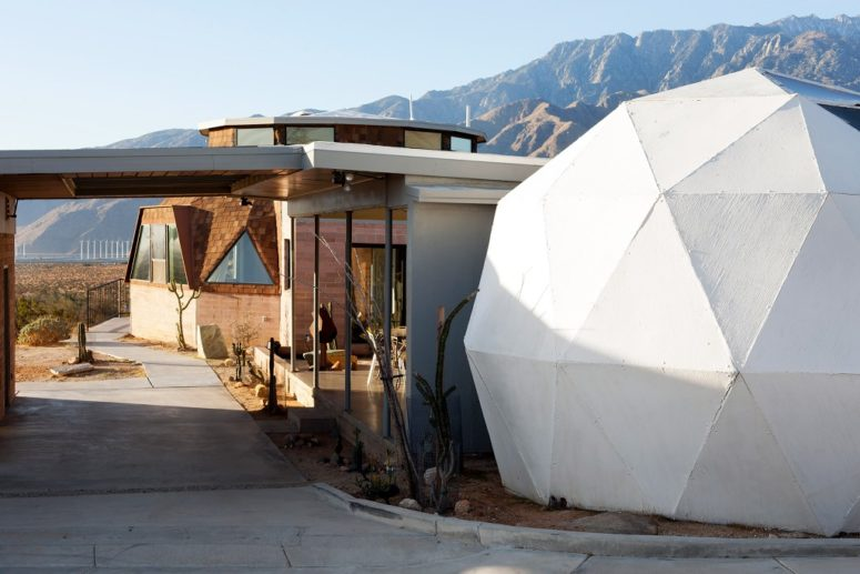 There's a terrace and a white geometric dome, which contains a jacuzzi
