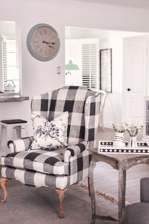 a gorgeous buffalo check vintage wingback chair will look organic in a rustic, vintage and even modern space