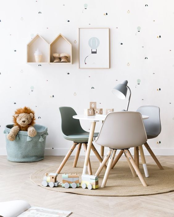 quite soft Scandinavian-inspired kids' room design