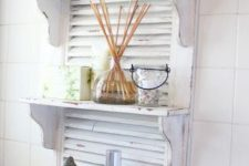 10 whitewashed shabby chic shutters with shelves will add a soft charming touch to the bathroom