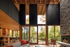 11 a modern wooden plank ceiling with beams for a bold contemporary look