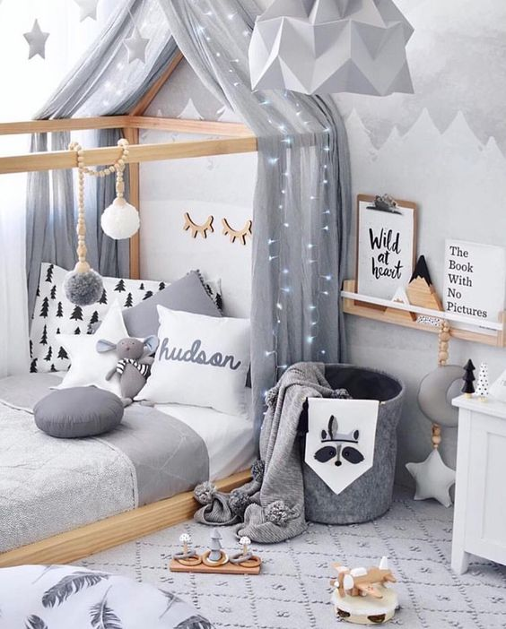 a lovely room in the shades of grey to keep the kids calm and peaceful plus make them feel at ease