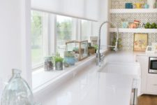 12 a semi sheer white Roman shade is an ideal solution for a kitchen or a bathroom