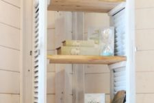 12 a shutter shelf with shelves and vintage items on display for a chic look