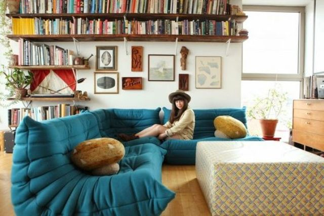 a whimsy teal bean bag style L-shaped sectional sofa for a boho chic space