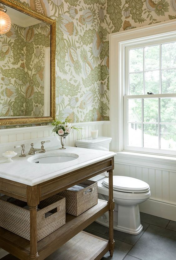 protect the wallpaper on the walls installing wainscoting to keep the walls dry