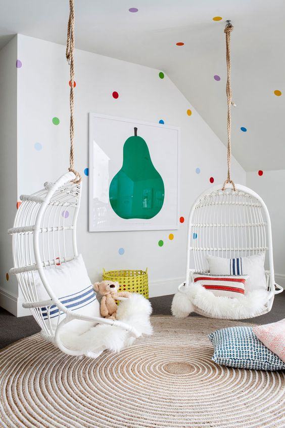 add touches of bold colors to make the kids feel more active, for example, polka dots and an artwork like here