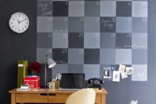 14 a chalkboard wall can be used for chalking a whole calendar, hanging pics and even a clock