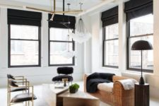 15 black touches here add interest and Roman shades in black are among these eye-catchy items