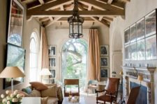 16 a light-colored coffered wooden ceiling with beams for a refined vintage space to make a statement