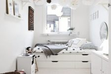 16 a serene Scandinavian space done with a bed with built-in storage drawers is a great idea