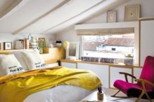 colorful attic sleeping space