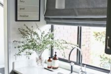 16 grey Roman curtains are a perfect fit for a Scandinavian kitchen