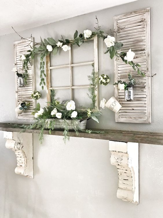 window and shutter spring decor with fresh greenery and blooms is a refreshing idea