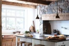 kitchen with a stone-clad wall