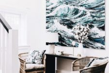 18 a large scale artwork takes over this small nook and makes it sea-like and refreshing