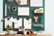 stylish pegboard wall for a home office