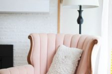 19 a girlish take on a wingback with a soft curved back and in light pink color