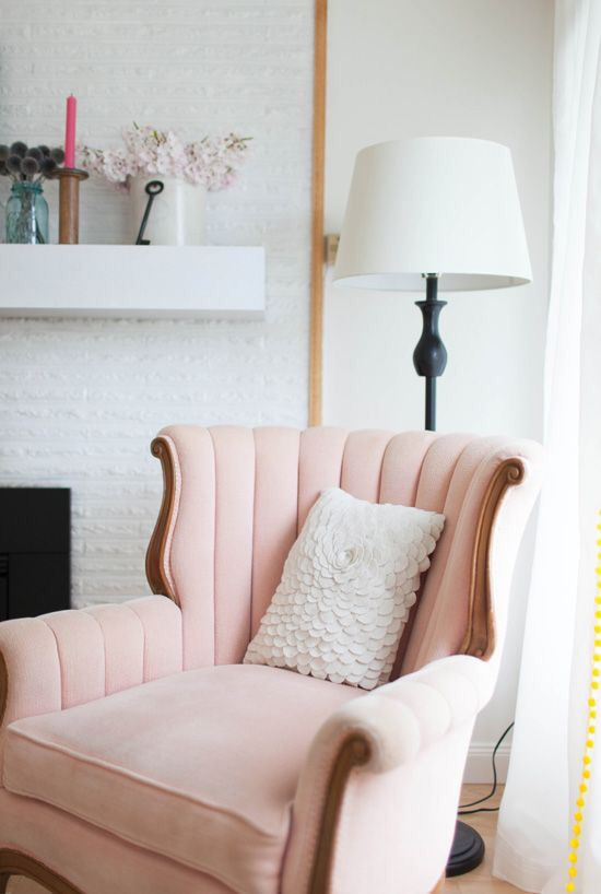 a girlish take on a wingback with a soft curved back and in light pink color