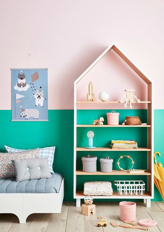 an unusual and bold combo of emerald and pink is a fun idea for a kids' space