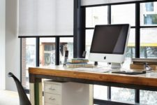 19 highlight the style of your home office with black and white roller shades not to distract you from work