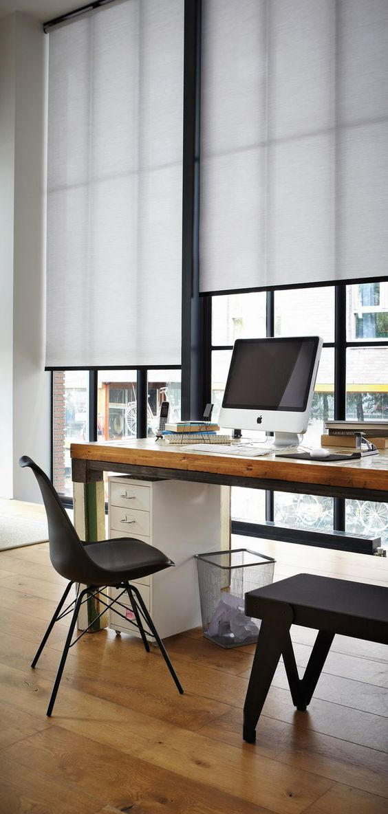 highlight the style of your home office with black and white roller shades not to distract you from work