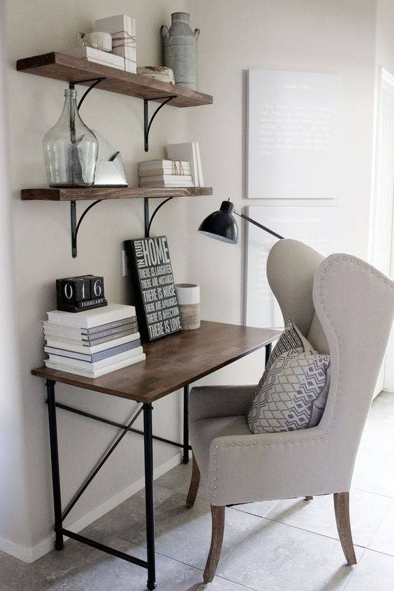 a modern creamy wingback chair used as a home office piece for comfortable working