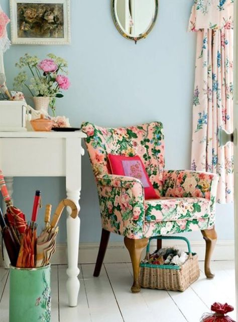 re-upholster your furniture with bold floral upholstery for a spring or summer feel in your space