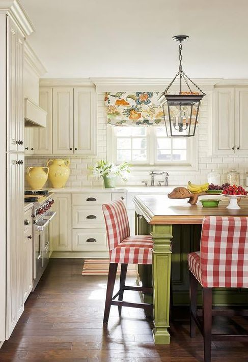 red and white buffalo check stools add a bright touch to the rustic kitchen