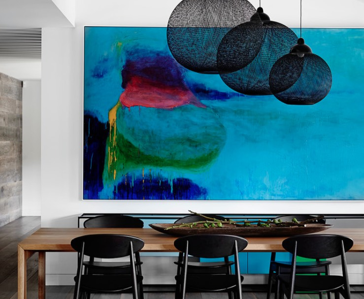 the main statement and eye-catcher of this space is the bold artwork