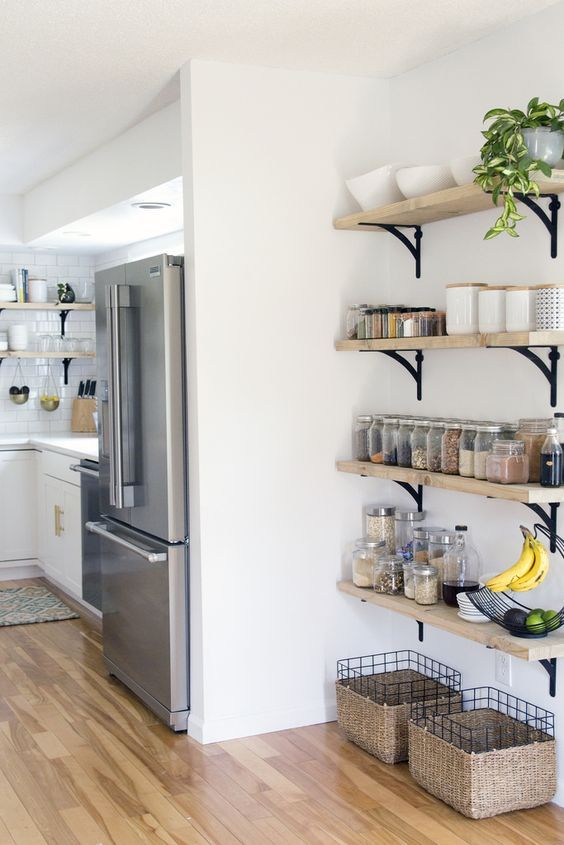 use an awkward corner for storage, attach some open shelves to the wall