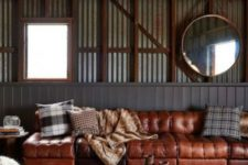 21 a long sectional sofa in various shades of brown is great for an industrial and rustic space