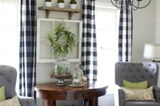21 add a cozy farmhouse feel to your living room with buffalo check curtains
