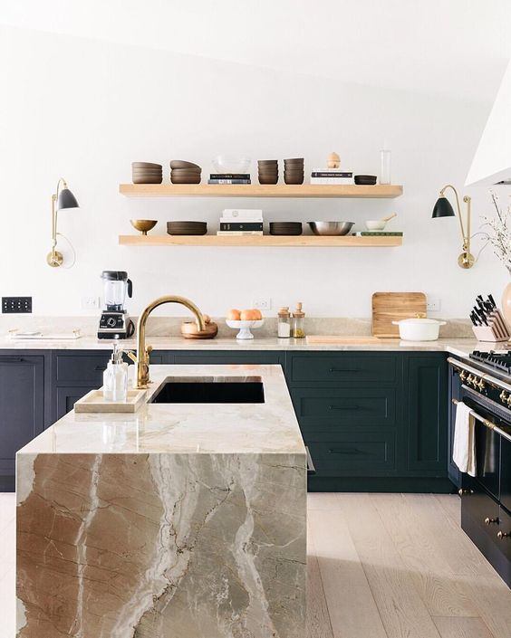 modern wooden shelves and eye-catchy stone surfaces make this kitchen very stylish