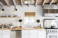 22 reclaimed weathered wooden ceiling with beams brings texture and interest to the usual kitchen