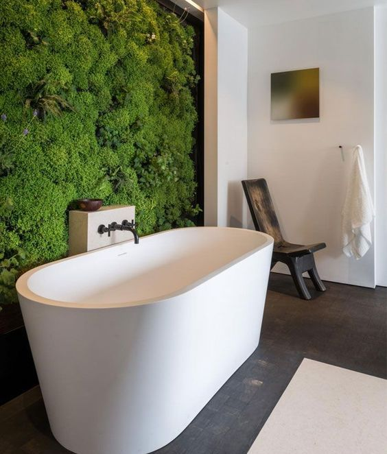 a living moss wall makes a modern bathroom more natural and cool